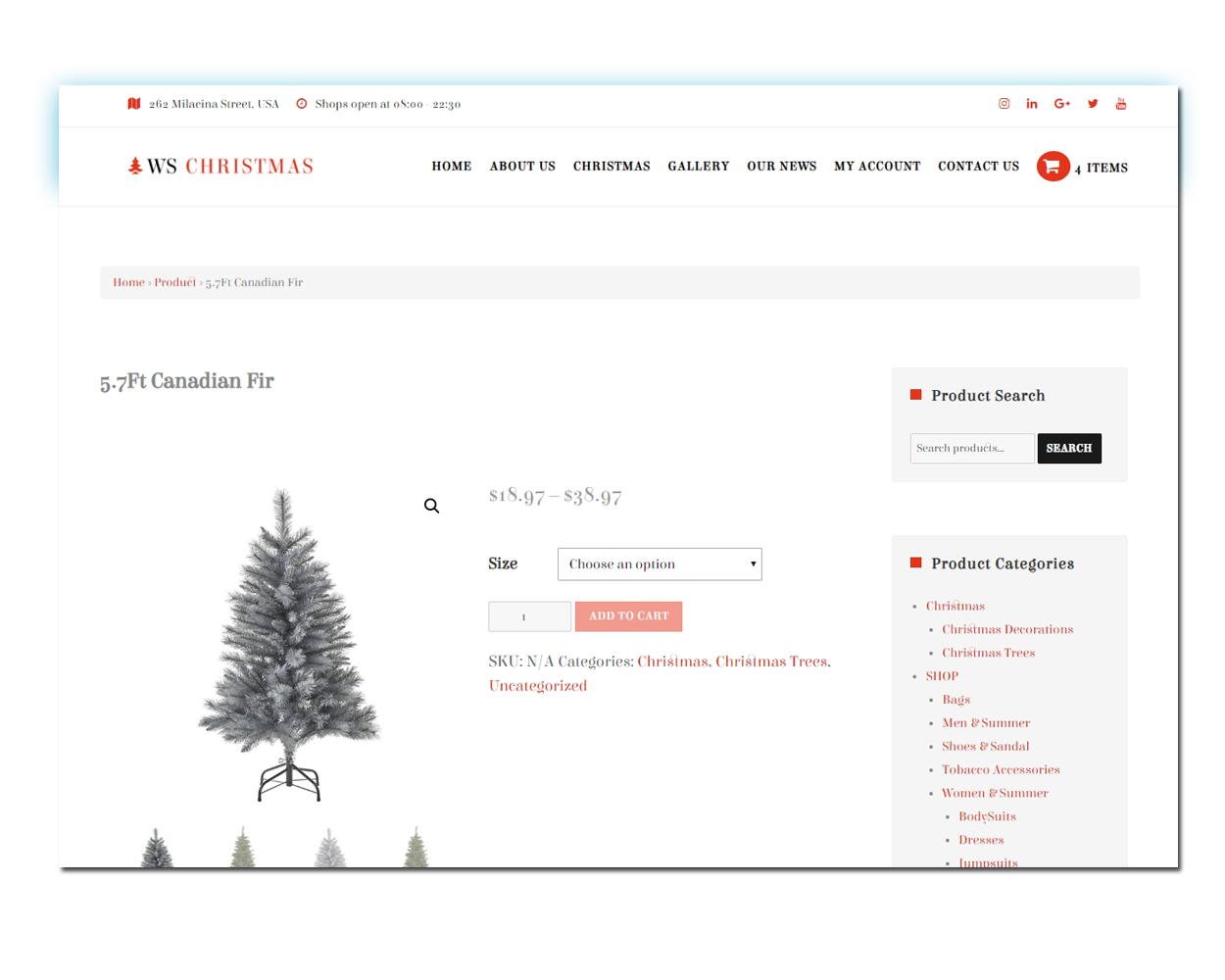WS Christmas woocommerce wordpress Product Page