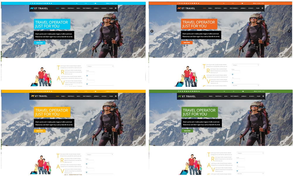 Travel joomla template Color Styles