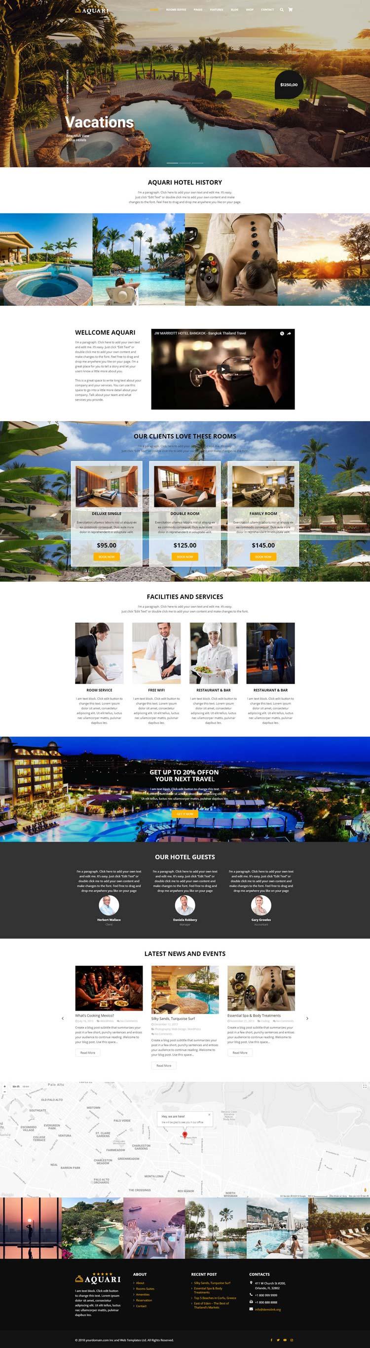 Hotel and Resort WordPress Theme