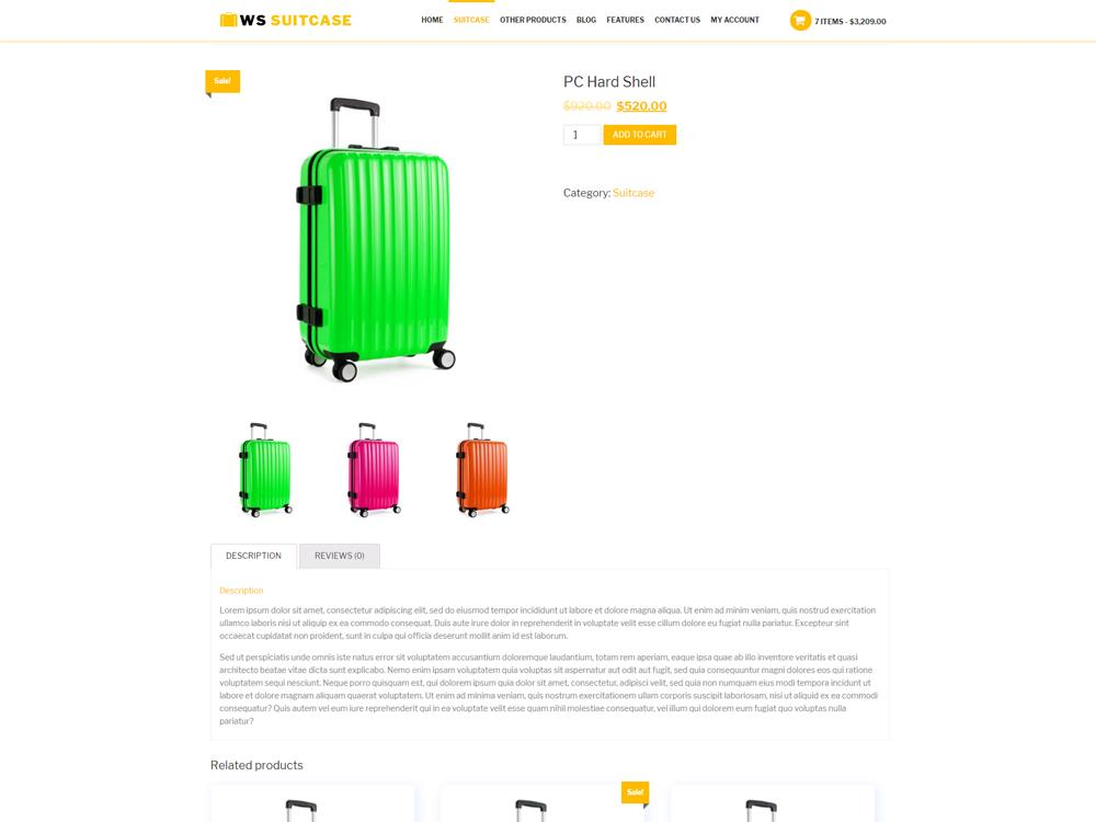WS Travel Bag woocommerce wordpress Product Page