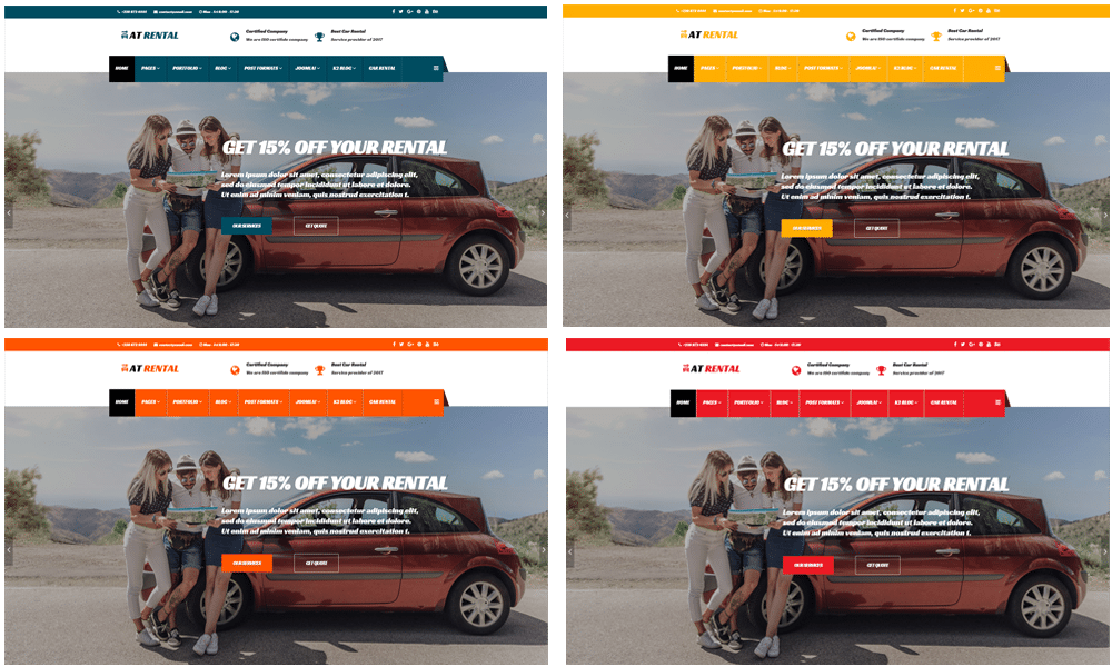 Car rental Joomla template Color Styles