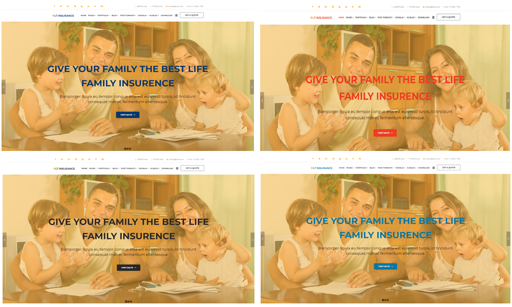 Joomla Insurance template Color Styles