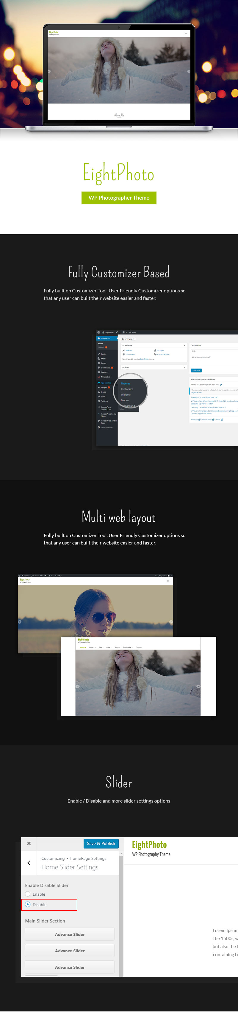 Free Photography WordPress Theme Features