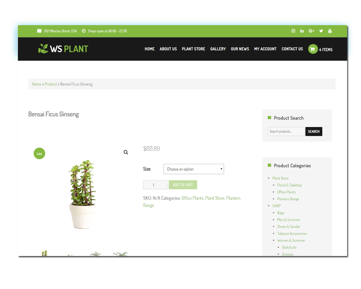 WS Garden woocommerce wordpress Product Page