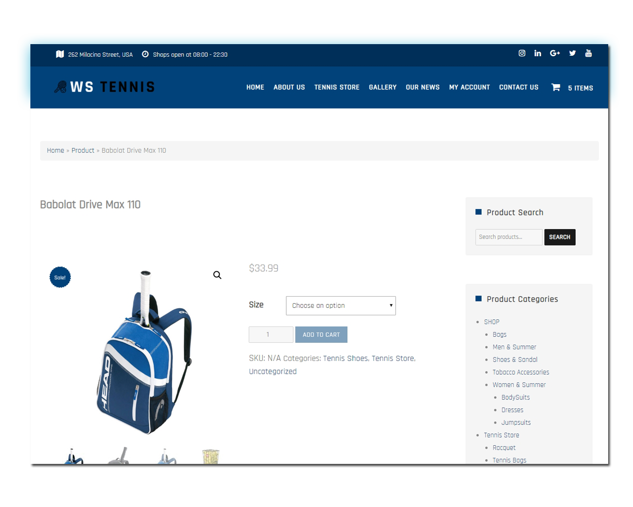 WS Sport woocommerce wordpress Product Page