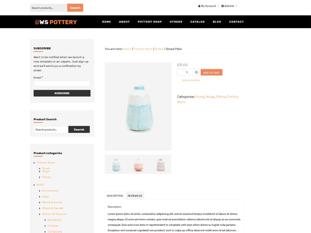 WS Furniture woocommerce wordpress Product Page