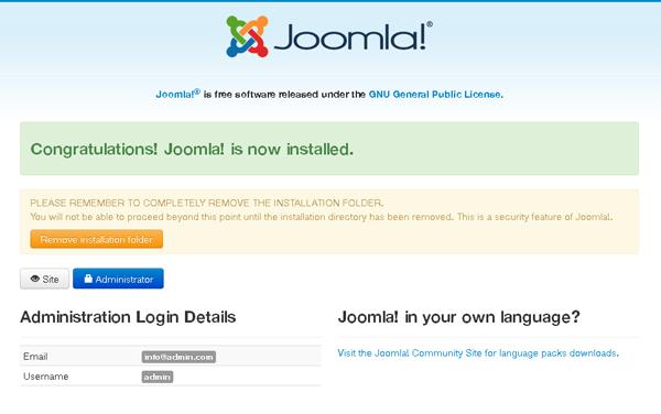 Joomla Installation - Database configuration