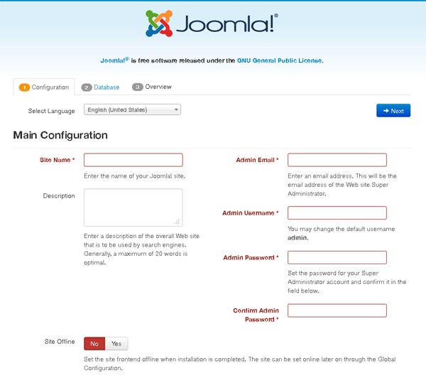 Joomla Installation - Choose Language