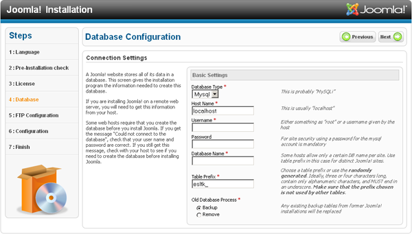 Joomla Installation - Database configuration
