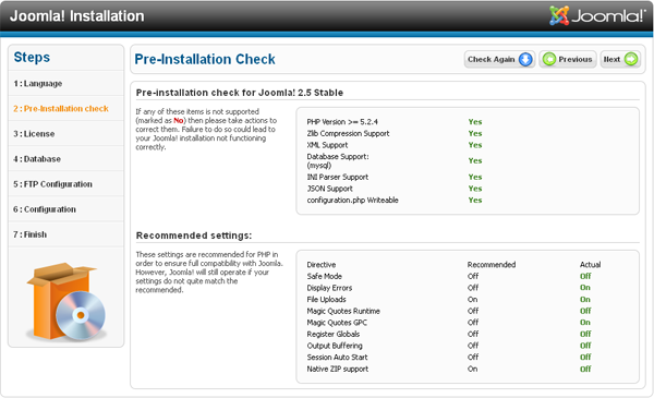 Joomla Installation - Pre-Installation Check